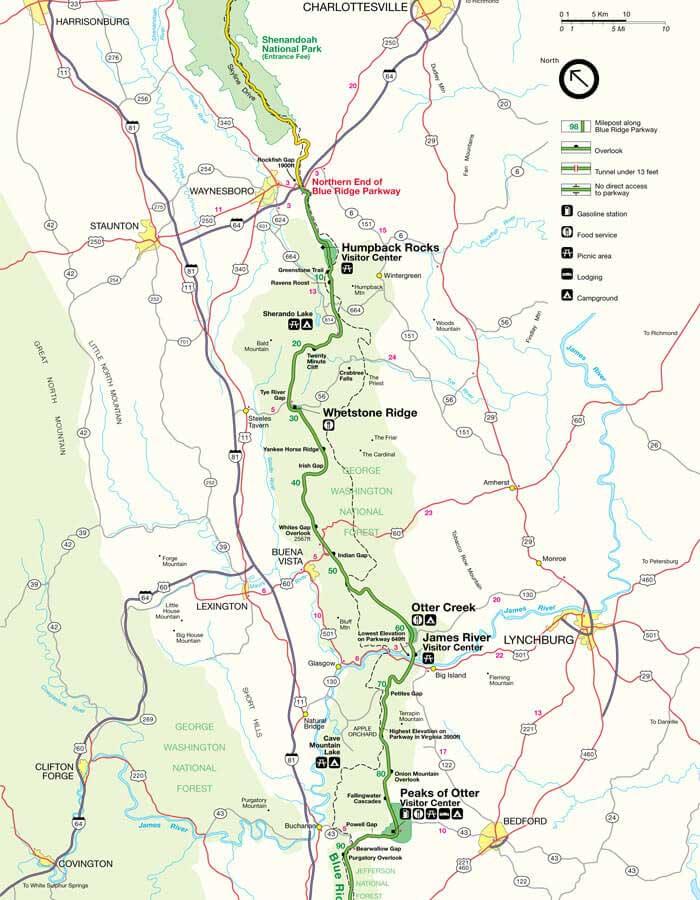 Карта дороги Блу Ридж Парквей 1