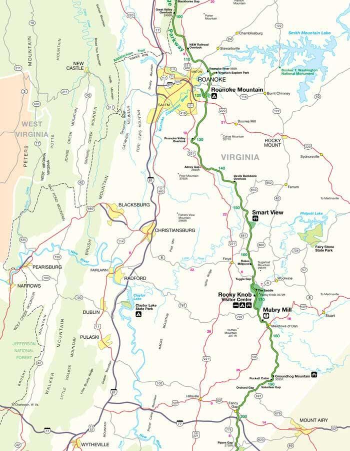 Карта дороги Блу Ридж Парквей 2