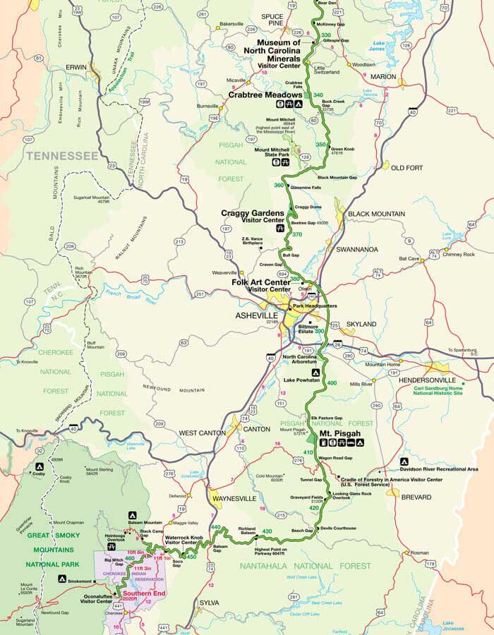 Карта дороги Блу Ридж Парквей 4