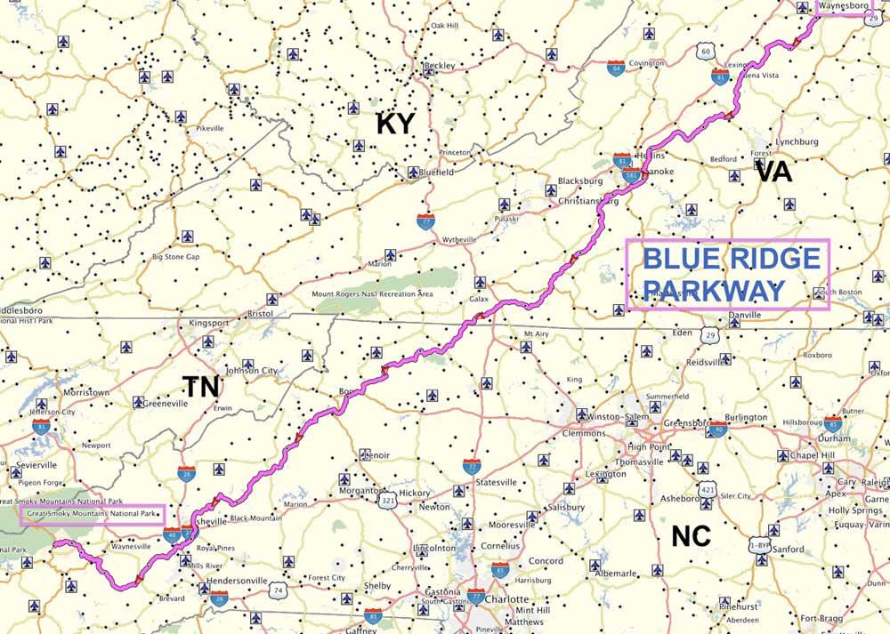 Дорога Блу Ридж Парквей на карте