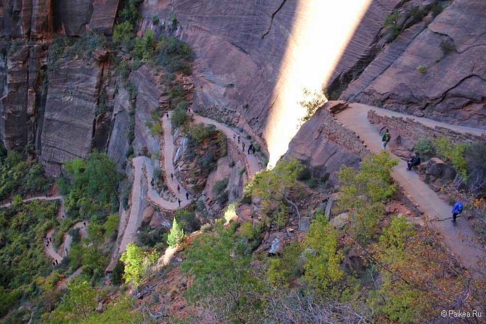 Трейл на скалу Приют Ангелов, парк Зайон, США