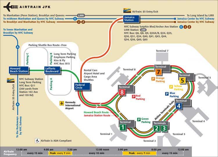 аэропорт JFK схема терминалов