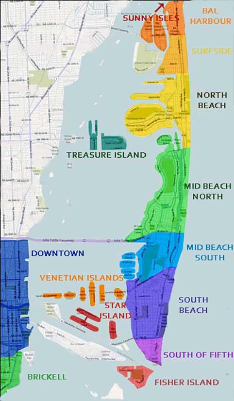 Схема пляжей Майами