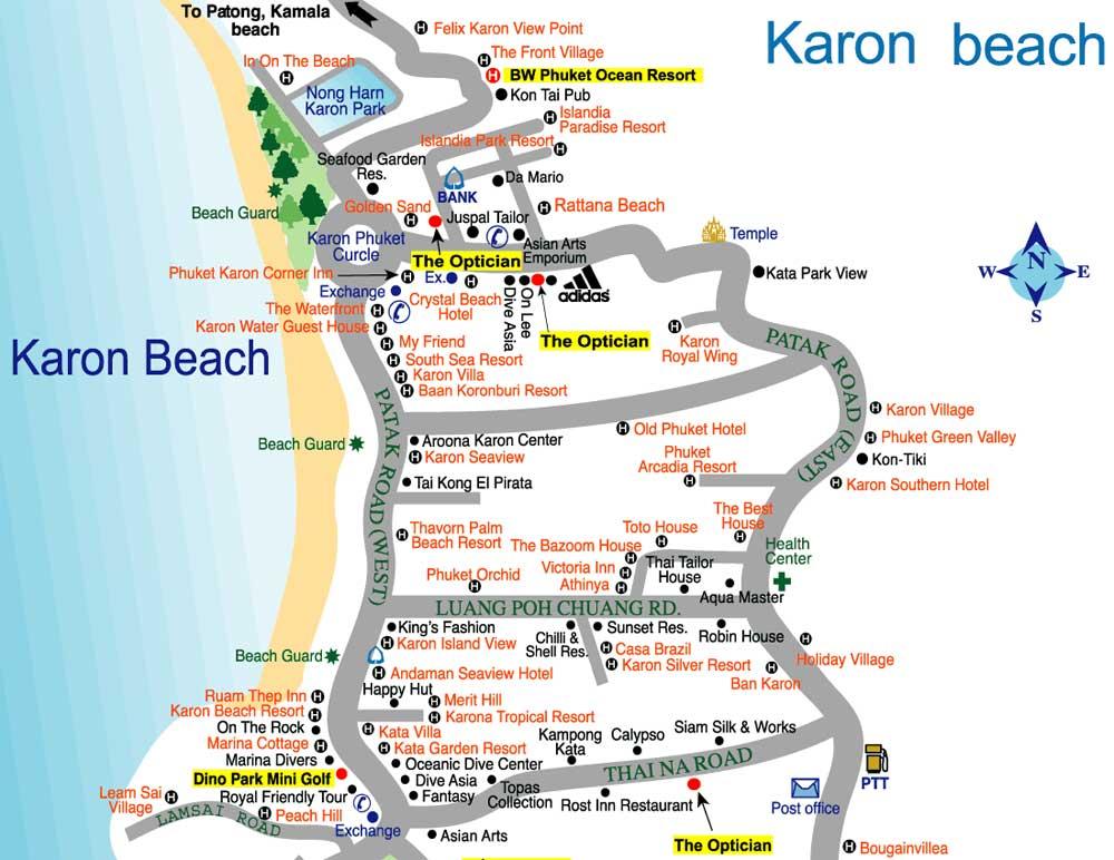 карта отелей карона пхукет