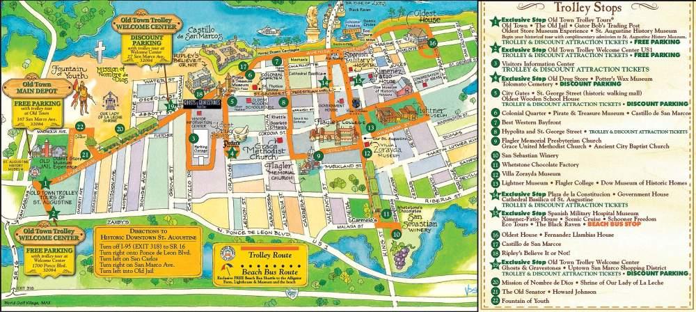 Сент-Огастин схема маршрута Old Town Trolley