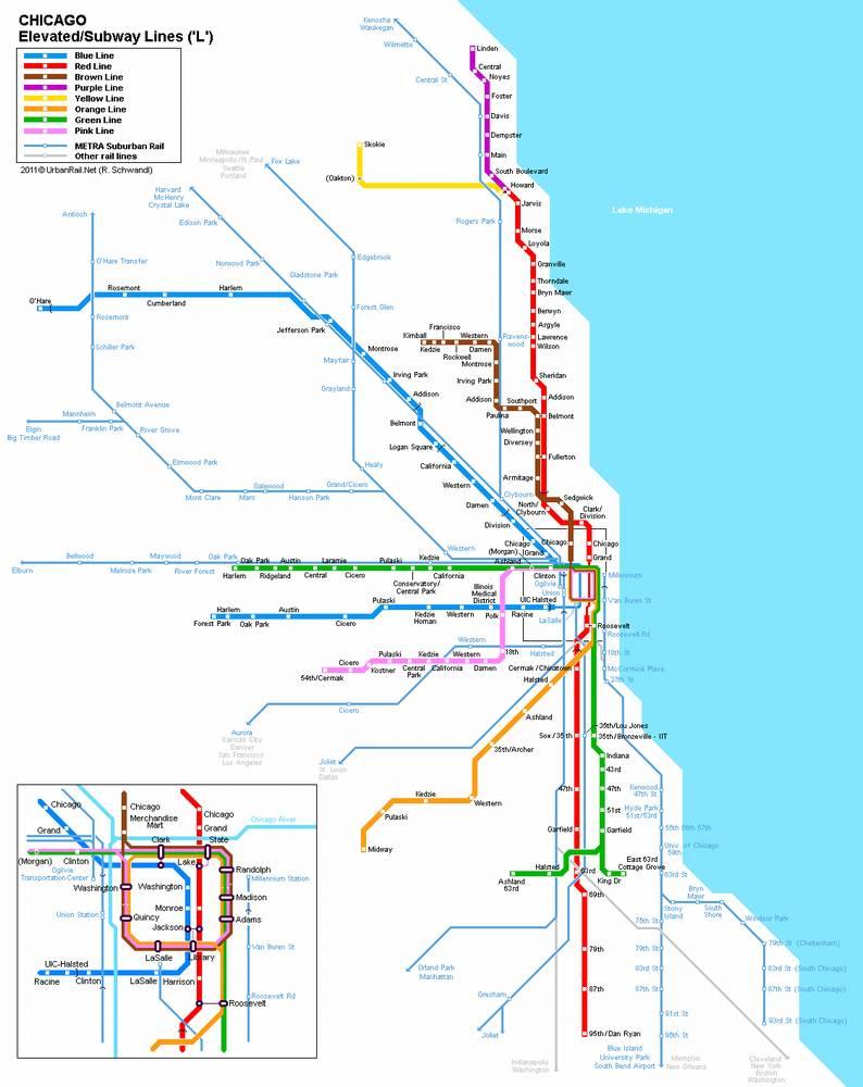 Схема метро Чикаго