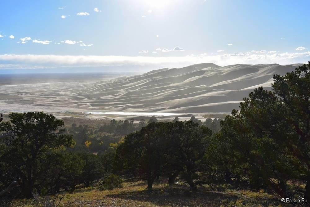Вид на Грейт Сэндс Дьюнс с трейла Dunes Overlook