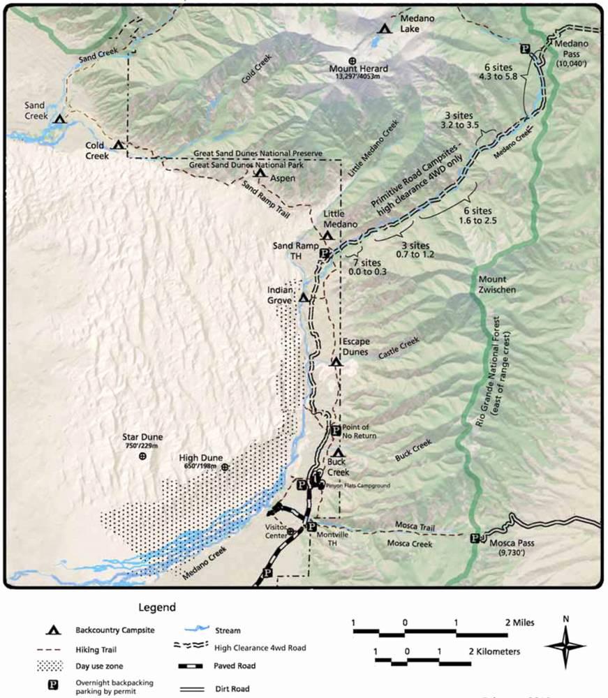 Карта дорог в Грейт Сэнд Дьюнс