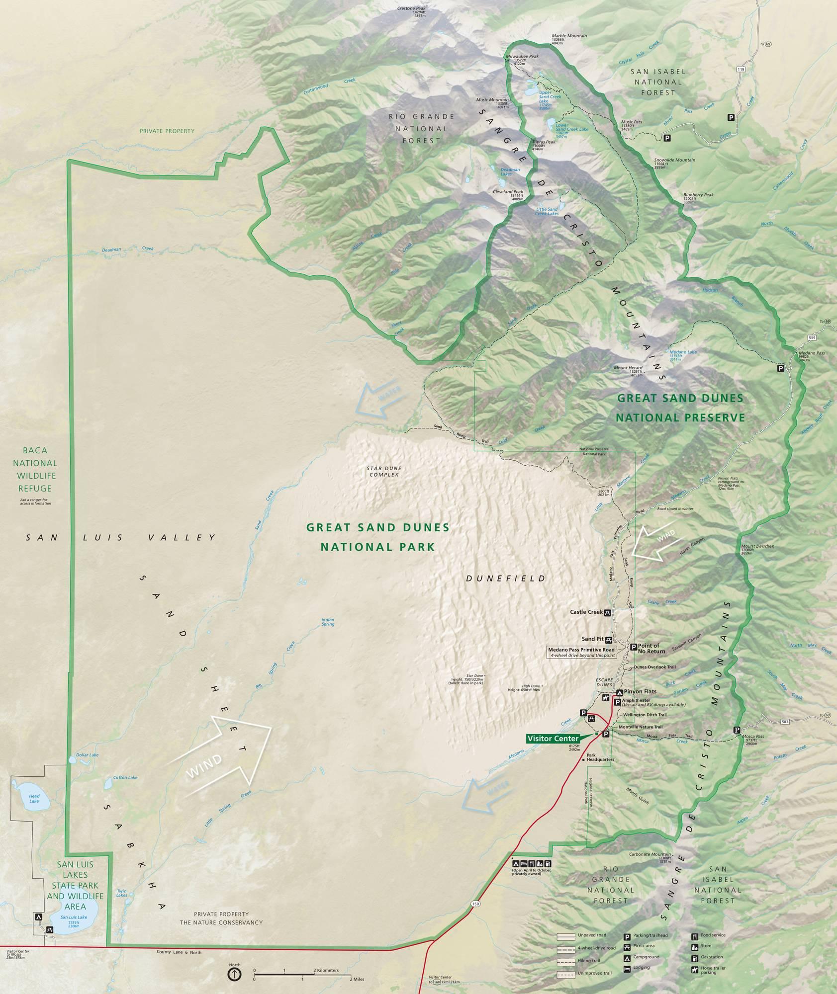 Карта парка Грейт Сэнд Дьюнс