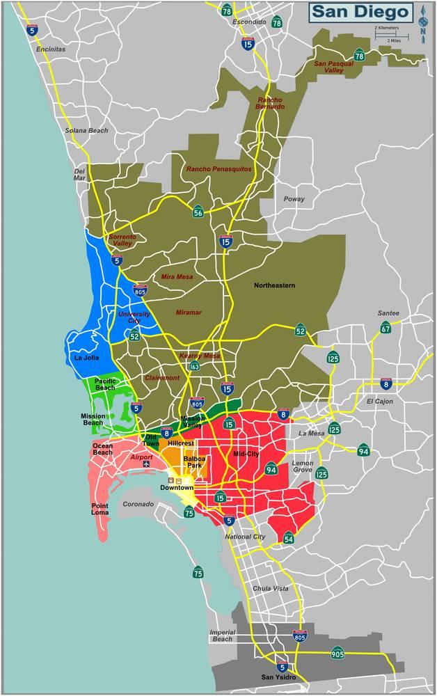 Районы Сан-Диего США Калифорния