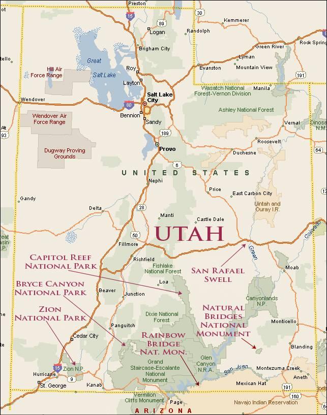 Нэчурал Бриджес на карте Юты США