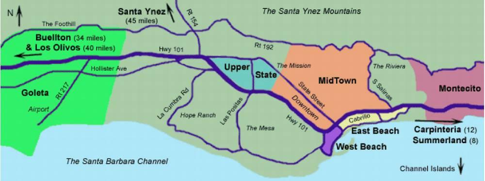 Санта-Барбара Калифорния США схема города