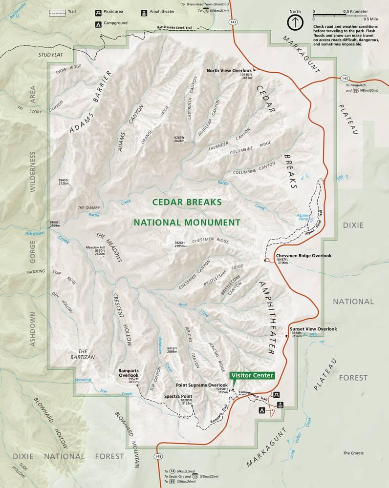 Сидар Брейкс карта парка