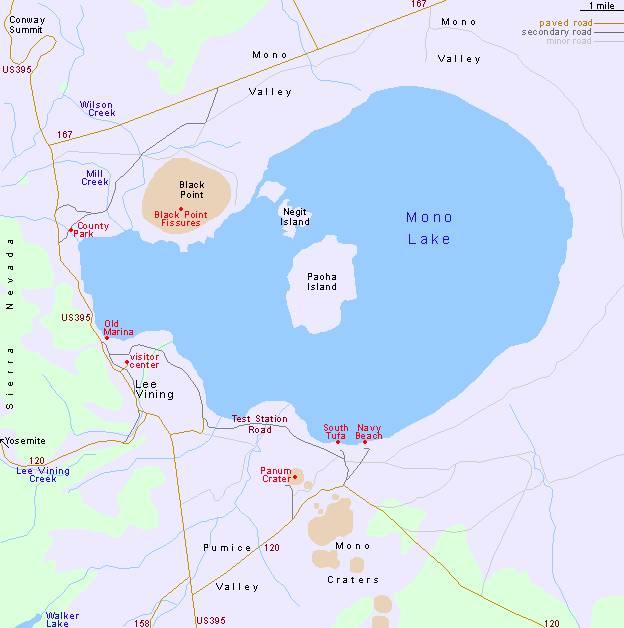 Озеро Моно карта