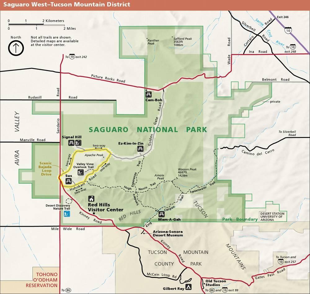 Национальный парк Сагуаро (Аризона, США) - карта западной части