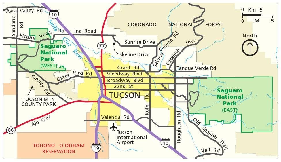 Схема проезда в Национальный парк Сагуаро (Аризона, США)