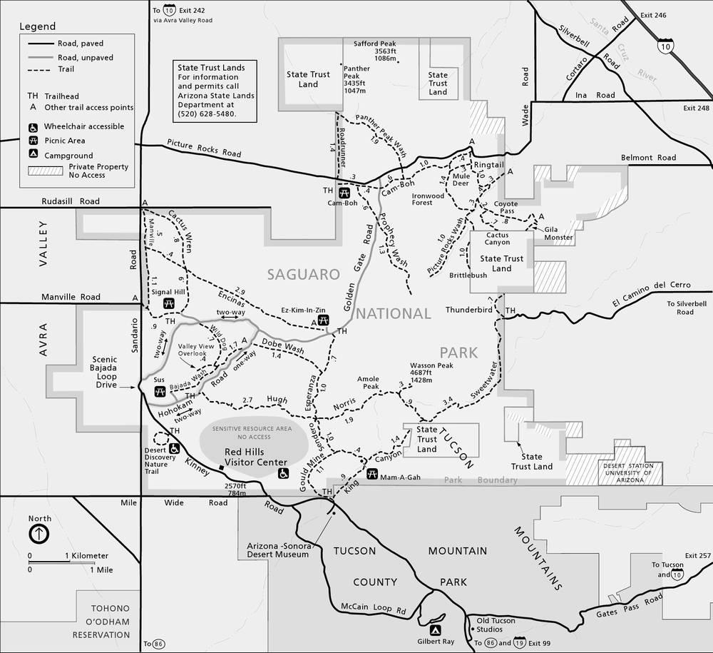 Схема трейлов в западной части национального парка Сагуаро