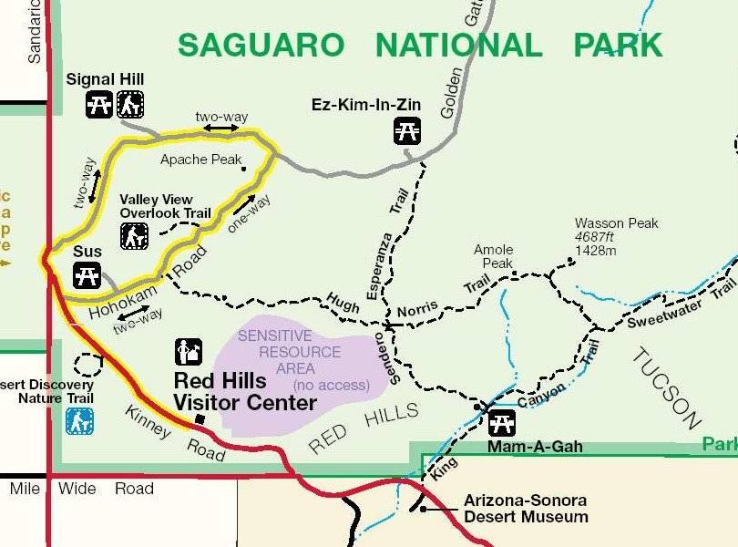 Сагуаро Схема Scenic Bajada Loop Drive